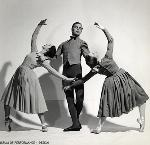 Bobbie Howell, Lew Christensen, and Janet Reed in Homesteaders, 1942 Photo by Fritz Henle. Courtesy Museum of Performance and Design, Performing Arts Library, LC0195