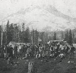 Mazamas prepare for first ascent of Mt. Hood from their base on O.C. Yocum's property, July 1894. OHS Research Library, 019417