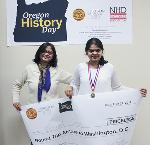 2017 Oregon History Day grand prize winner Eshani Jha and her mom, winner of round trip airfare to Washington D.C to participate in National History Day.