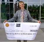 2018 Oregon History Day grand prize winner Gavin Newtson, winner of round trip airfare to Washington D.C to participate in National History Day.