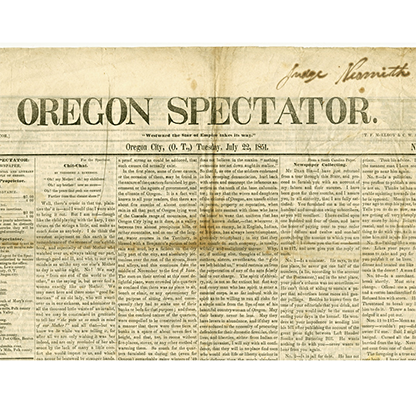 Oregon Spectator front page, July 22, 1851