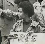 Sandra Ford, Black Panthers, at a demonstration in support of repressed peoples at the U.S. Courthouse on February 14, 1970. Courtesy City of Portland (OR) Archives, A2004-005.2957