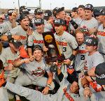 Oregon State University's 2018 College World Series Championship Team with Trophy