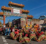 2016 Chinese New Year Dragon Dance & Parade, en route to the Oregon Historical Society outside of the Chinatown Gateway