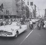 Photograph  Cellulose negative  b&w  4x5 inches  Eisenhower motorcade  Portland  Oregon  United States  10/8/1952    Sterrett, Frank, 1895-1974.  Oregonian (Portland, Or.)