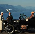 1916 costumes and vehicle meets 2016 drone. © Laughing Deva Productions.
