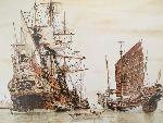 Roger Morris painting of a Manila galleon in Harbor. Courtesy of the artist.