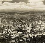Portland cityscape with Mt. Hood in the background, Arthur M. Prentiss. OrHi 12706a