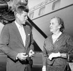 John F Kennedy and Edith Green next to airplane. Photo by Frank Sterrett. OrHi 47017 bb015441