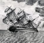 Columbia in a Squall, painted in 1793 by amateur artist George Davidson. OrHi 984