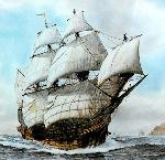 Roger Morris painting of a Manila galleon sailing the North Pacific. Courtesy of the artist.