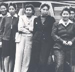 Young women from Chemawa trained at the Eugene National Youth Administration for skilled work in the Portland shipyards, 1942. OHS Research Library, Oregon Journal collection, 013610