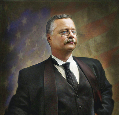 Theodore Roosevelt recreator Joe Wiegand. Photo by Mark Glenn Studio