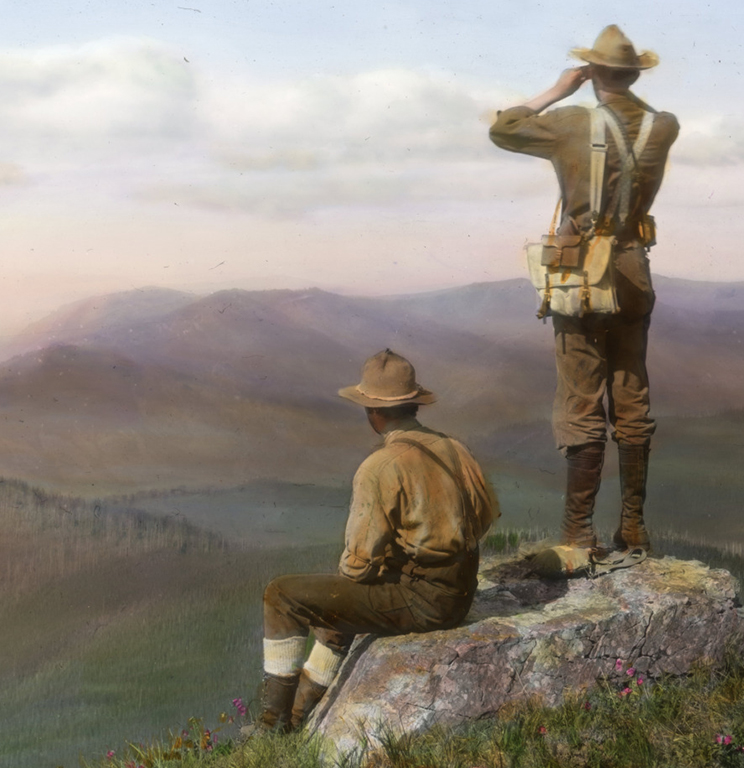 Two men looking out over the landscape, #59296 US Forest Service Frank Branch Riley Collection, bb014019