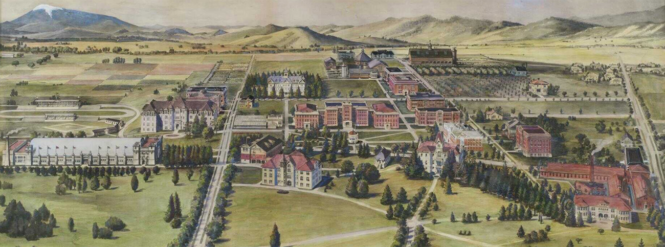 Aerial view painting of OSC campus, 1912