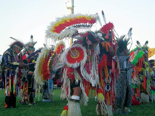 A prayer opens the Pi-Ume-Sha Powwow, 2008. Photo courtesy of Spilyay Tymoo, Confederated Tribes of Warm Springs