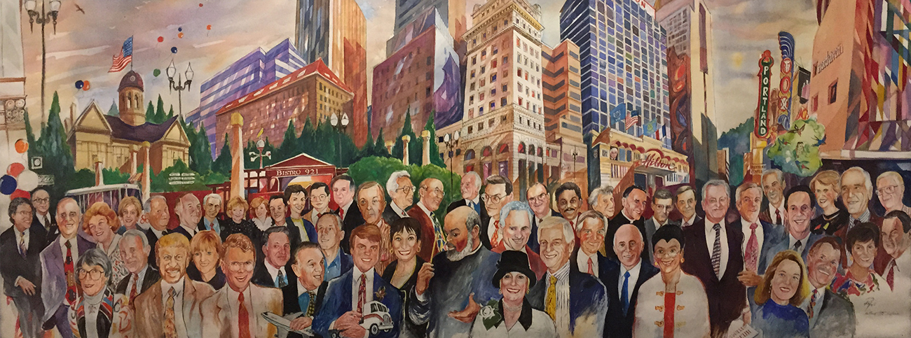 Hilton Hotel Watercolor Mural by Bill Papas