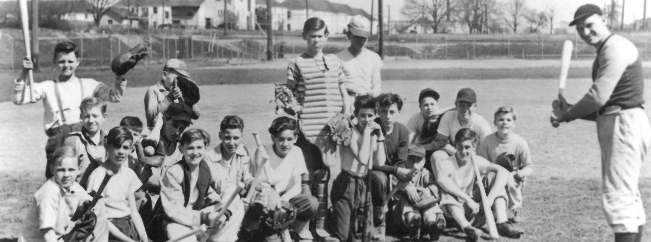 Ted Schopf, Washington High School Athletic Director, with some of the over 1,000 participants at free baseball schools opened at 10 parks, Oregon Historical Society Library, OrHi 99071