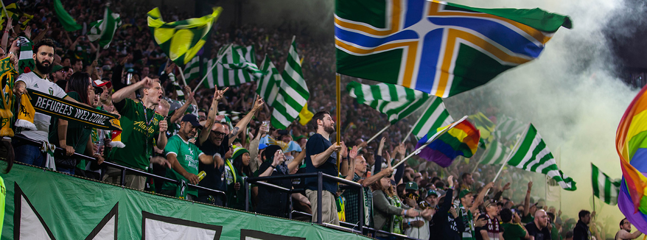 Timbers Army members showed support during a match against the Houston Dynamo on June 22, 2019. Courtesy of the 107 Independent Supporters Trust.