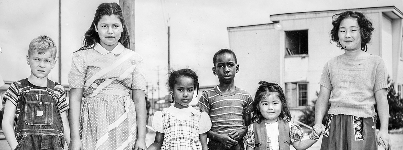 Children at Swan Island refugee center set up by the Red Cross after the Vanport Flood, 1948. OrHi 90661. Photographs: Portland - NE Neighborhoods - Vanport [graphic]; Photo file #1689-A; 1948/05
