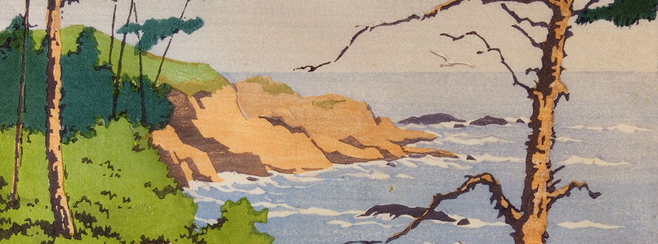 Whale Cove, Oregon, 1932 (detail). Color block print by Norma Bassett Hall
