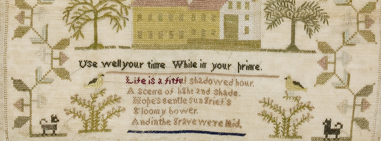 Sampler by Mary Garrison, 1838. 749