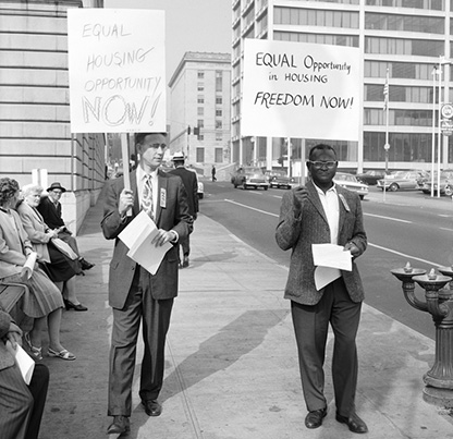 NAACP picketing City Hall. September 30, 1963. Photo by Hugh Ackroyd (b. 1913) 11972-5