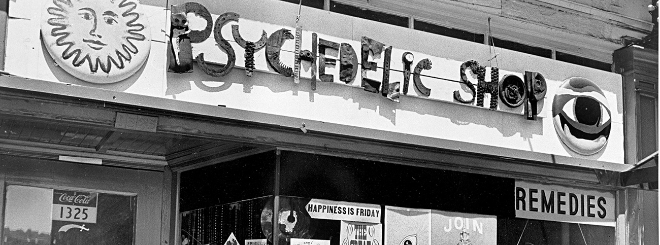 The Psychedelic Shop, a store that catered to the counterculture youth of Portland, was located downtown at SW Thirteenth and Washington in the late 1960s. The shop sold jewelry, concert tickets, herbs, posters, and clothing. 022772, bb002266