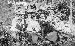 Men and women picnicking and drinking beer, 1895. 003774