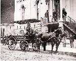 1882 Patrol Wagon at Headquarters, Officer John Price driving the paddy wagon.