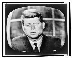 John F. Kennedy, on television, head-and-shoulders portrait, facing front, addressing the nation; RN: LC-USZ62-133059