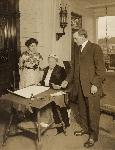 Abigail Scott Duniway, Oswald West and Viola Coe, signing woman suffrage amendment for Oregon, Nov 1912, Library of Congress, Records of the National Woman's Party, Manuscript Div., Group I, Container I:150, Folder: Duniway