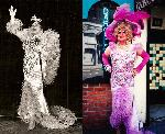 This dress was made for the iconic Gracie Hansen shortly after she arrived in Portland in 1965. The photo at left shows Gracie wearing the dress on stage. The photo on the right is Walter, dressed as Darcelle, outside Darcelle XV Showplace, around 1990.