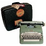 Kennedy's Smith-Corona Electra typewriter, used 1960-61 and his typewriter carrying case. Courtesy of the Mark Family Collection.