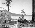 Timothy Lake, couple with trailer, 1957. Portland General Electric Photograph Collection; Org. Lot 151; Box 35; PGE 57-284.1-7