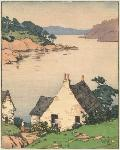 Portree Bay, Scotland, 1928. Color block print by Norma Bassett Hall