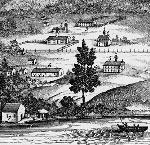 Lithograph of Saint Paul Mission on the Willamette, 1848. Vande P. Steene, Lithograph opposite page 50, 1848, Saint Paul Mission on the Willamette.