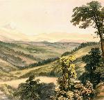 """Valley of the Willamette River,"" lithograph from Warre, Henry J. Sketches in North America and the Oregon Country. London: Dickinson & Co., 1848. OHS Research Library, OrHi 49030, bb016736"