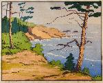Whale Cove, Oregon, 1932. Color block print by Norma Bassett Hall