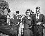 Frank Sterrett, Sen. Maurine Neuberger and President John F. Kennedy at Tongue Point enroute to assess the Oregon Dunes.  Photo by Frank Sterrett for the Oregonian. 1961 Neuberger Family. OrHi 102862 ba001542