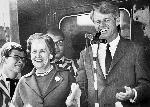 "1968 Oregon Primary ""Whistle stop train"" Robert Kennedy, Edith Green and High School band members. OrHi 37439 bb004173"