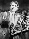 Robert F. Kennedy gives a speech during his Oregon primary campaign for President. (Note the cluster of mics.) 1968. Photo by Tom Geil. Donald E. Clark Collection CN 019484 bb015438