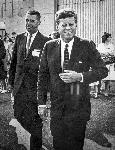 JFK with Harry Swanson in Astoria. Photo by Frank Sterrett. OrHi 13200 bb015439