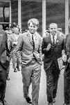 Donald E Clark with Robert F Kennedy during 1968 presidential campaign in front of OMSI. CN 020625 bb015444