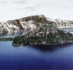 Hand-colored photograph of Crater Lake and Wizard Island, circa 1907. Kiser Photo Co. photographs, 1901-1999; bulk: 1901-1927.; Org. Lot 140; OrHi 101730, ba018080