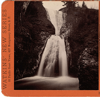 Stereograph of Bridal Veil Falls after the winter storm of December 1884 and January 1885. (Stereograph E34) Carleton E. Watkins photographs, 1861-1885; Org. Lot 93; b2.f106 ba021120