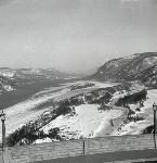 Winter view of Columbia River Gorge from Crown Point. Oregon Journal Negative Collection; Org. Lot 1368; Box 371; 0371N5684