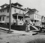 Mrs. Oliver Clay Colwell's house, SW Market St and 10th Ave, Portland, OR, c.1905 Far right: Mrs. Oliver Clay Colwell Photo file #1604, Neg. # 21811.