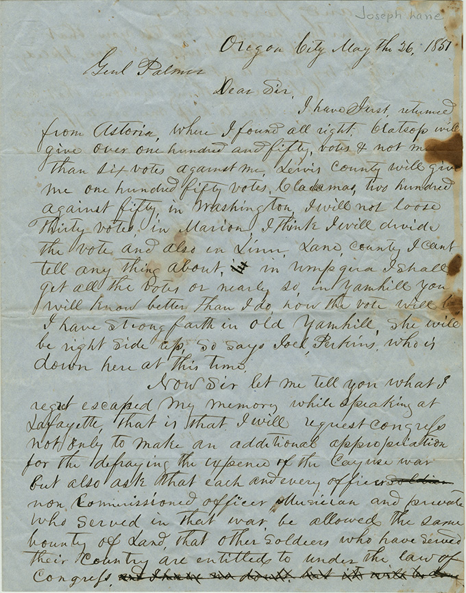 Letter from Joseph Lane to Joel Palmer, May 26, 1851. OHS Research Library, Joel Palmer Papers, Mss 114, box 1, folder 18