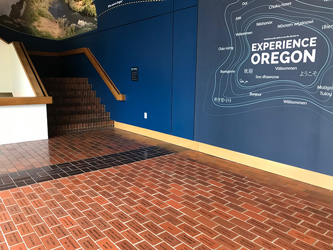 Engraved bricks at the entrance to Experience Oregon